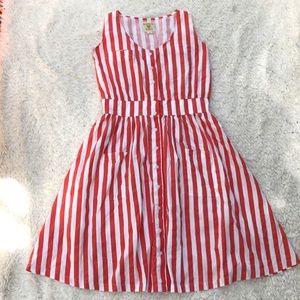 Hugo loves tiki women's red striped dress medium